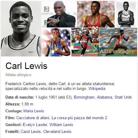 CARL LEVIS GOOGLE DATI